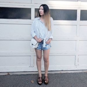 Tops - Urban Outfitters Striped Button Up Knot Shirt